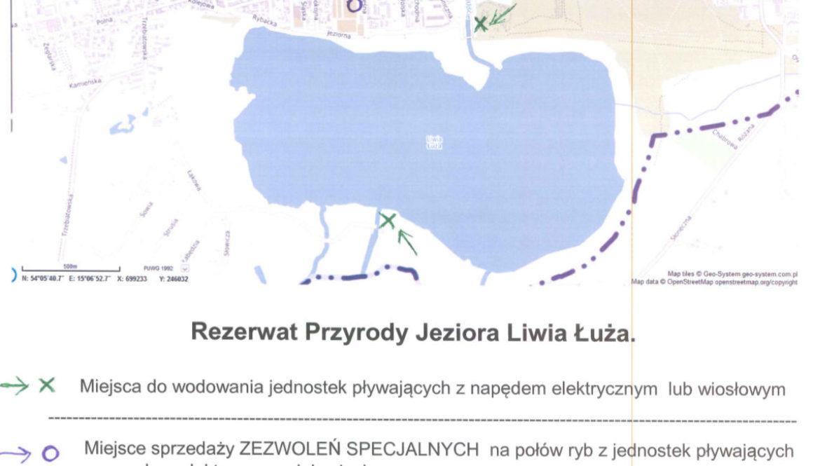 Liwia Łuża mapa miejsc do wodowania